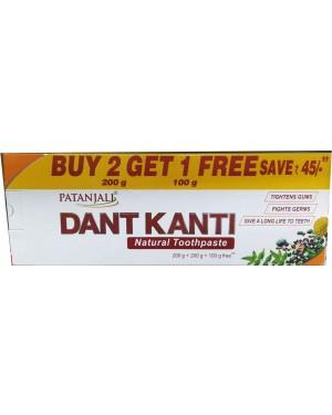 QT : PATANJALI DANT KANTI NATURAL TOOTHPEST 2 + 1 FREE 400GM + 100GM