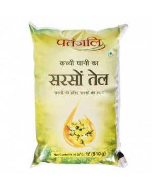 OIL : PATANJALI MUSTERED OIL 1LTR POUCH